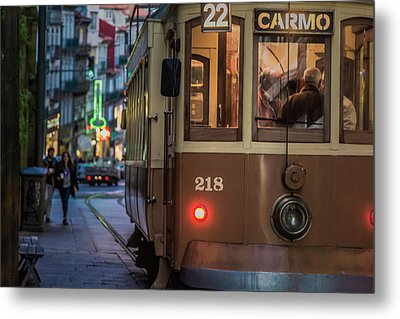 Porto Tram Metal Print by Chris Fletcher