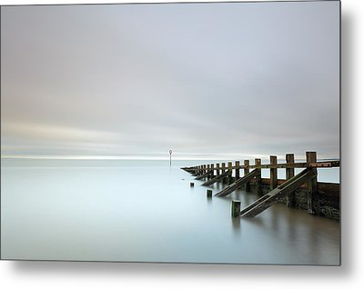 Metal Print featuring the photograph Portobello Sea Groynes by Grant Glendinning