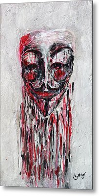 Portrait Melting Of Anonymous Mask Chan Wikileak Occupy Guy Fawkes Sopa Mpaa Pirate Lulz Reddit Metal Print by M Zimmerman MendyZ
