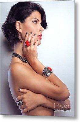 Portrait Of A Beautiful Woman Wearing Jewellery Metal Print by Oleksiy Maksymenko