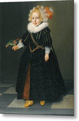 Portrait Of A Child Holding A Parrot Metal Print by Irinaraquel