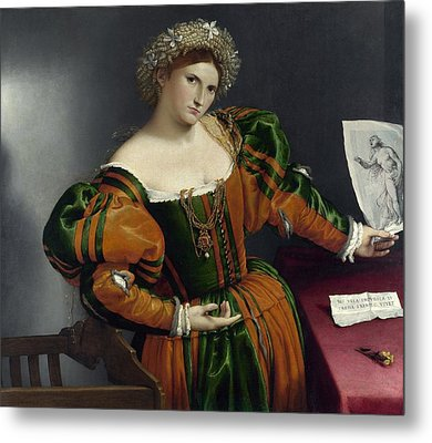 Portrait Of A Woman Inspired By Lucretia Metal Print by Lorenzo Lotto