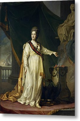 Portrait Of Catherine II The Legislatress In The Temple Of The Goddess Of Justice Metal Print