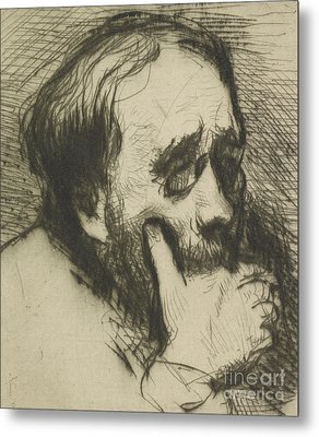 Portrait Of Edgar Degas Metal Print by Marcellin Gilbert Desboutin