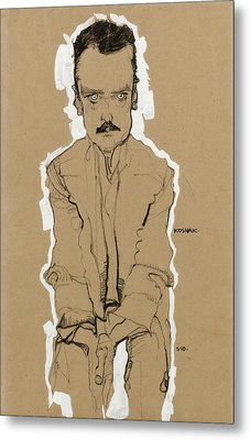 Portrait Of Eduard Kosmack Frontal With Clasped Hands Metal Print