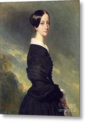 Portrait Of Francisca Caroline De Braganca Metal Print by Franz Xaver Winterhalter