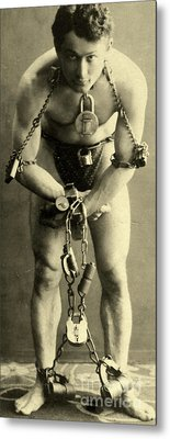 Portrait Of Harry Houdini In Chains, 1900 Metal Print