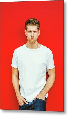 Portrait Of Young Handsome Man Metal Print
