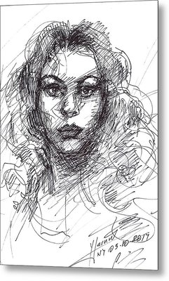 Portrait Sketch  Metal Print