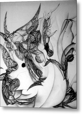 Metal Print featuring the drawing Post-modern Woman Detail Ix by Jack Dillhunt