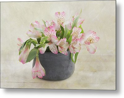 Metal Print featuring the photograph Pot Of Pink Alstroemeria by Kim Hojnacki