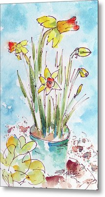 Metal Print featuring the painting Potted Daffodils by Pat Katz
