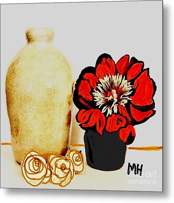 Metal Print featuring the painting Pottery Peony Roses by Marsha Heiken