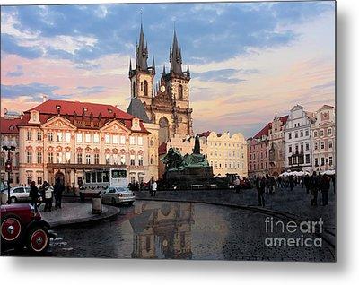 Prague After The Rain Metal Print