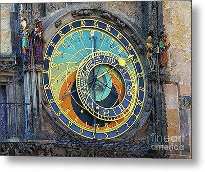 Prague Astronomical Clock Metal Print by Mariola Bitner