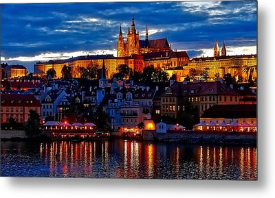 Prague Castle In The Evening Metal Print