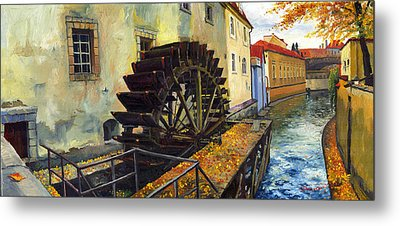 Prague Chertovka Metal Print