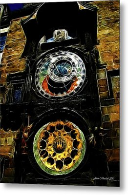 Prague Clock Metal Print