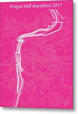Prague Half Marathon Magenta Metal Print