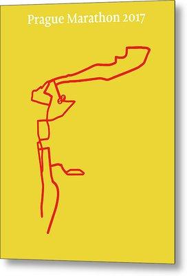 Prague Marathon Line Metal Print