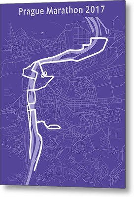 Prague Marathon Purple Metal Print