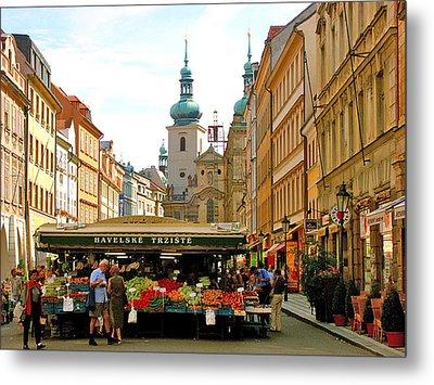 Prague Market Metal Print by Randy Matthews