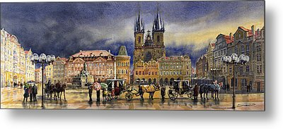 Prague Old Town Squere After Rain Metal Print by Yuriy  Shevchuk