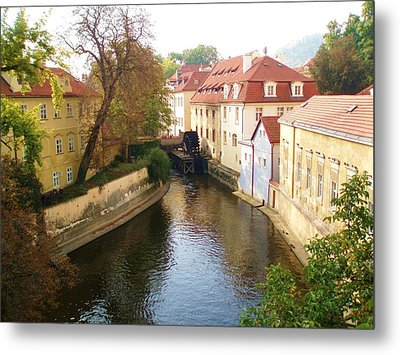 Prague River Scene Metal Print by LeAnne Sowa