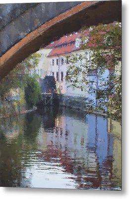 Praha Canal Dusk Metal Print by Shawn Wallwork
