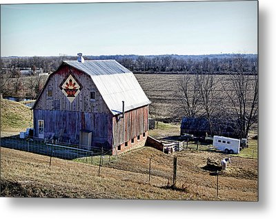 Metal Print featuring the photograph Prairie Flower Quilt Barn by Cricket Hackmann