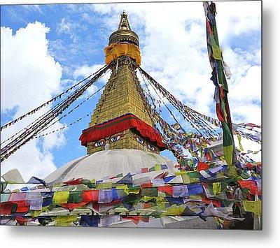Pray Flags Boudhanath Kathmandu Metal Print