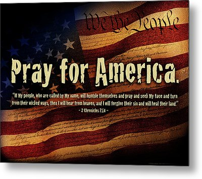 Metal Print featuring the mixed media Pray For America by Shevon Johnson