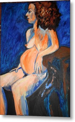 Metal Print featuring the painting Pregnant Woman In Blue by Esther Newman-Cohen