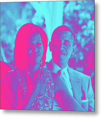 President Barack Obama And The First Lady Michelle Obama Metal Print by Asar Studios