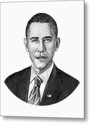 President Barack Obama Graphic Black And White Metal Print