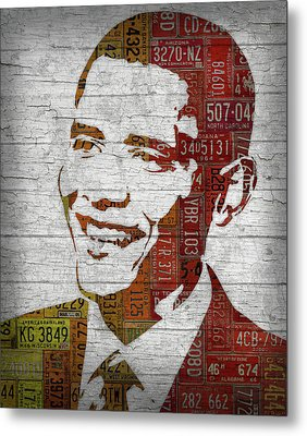 President Barack Obama Portrait United States License Plates Metal Print by Design Turnpike