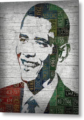 President Barack Obama Portrait United States License Plates Edition Two Metal Print by Design Turnpike