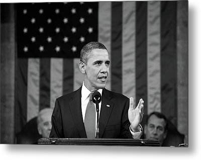 President Barack Obama - State Of The Union Address Metal Print