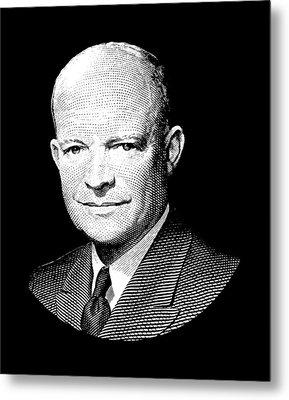 President Dwight Eisenhower Graphic - Black And White Metal Print