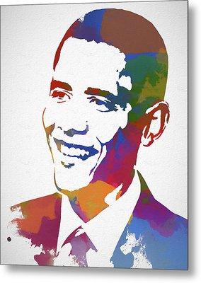 President Obama Watercolor Metal Print