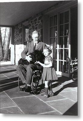 President Roosevelt In His Wheelchair Metal Print by Everett