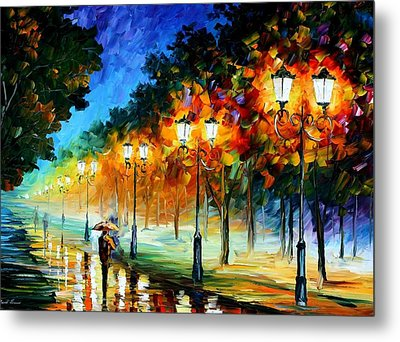 Prespective Of The Night Metal Print by Leonid Afremov