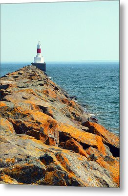 Presque Isle Lighthouse In Marquette Mi Metal Print by Mark J Seefeldt