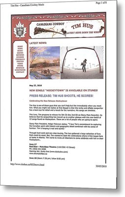 Press Release Carole Spandau Paints Cover Art For Hockeytown Cd By Tim Hus Metal Print by Carole Spandau