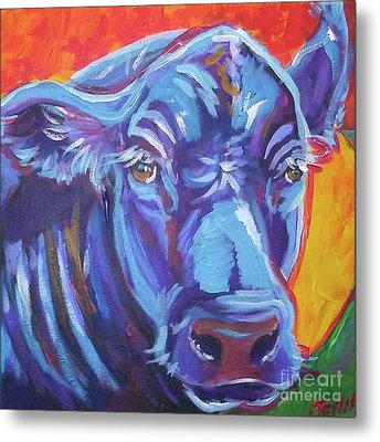 Pretty Face Cow Metal Print by Jenn Cunningham