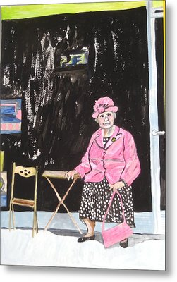 Metal Print featuring the painting Pretty In Pink by Esther Newman-Cohen