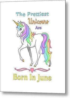 Pretty Rainbow Unicorn Born In June Birthday Metal Print