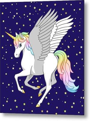 Pretty Rainbow Unicorn Flying Horse Metal Print