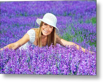 Pretty Woman On Lavender Field Metal Print by Anna Om