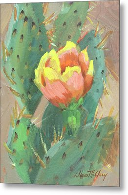 Metal Print featuring the painting Prickly Pear Cactus Bloom by Diane McClary